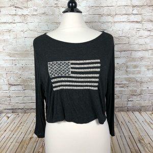 Brandy Melville long sleeve American flag crop top